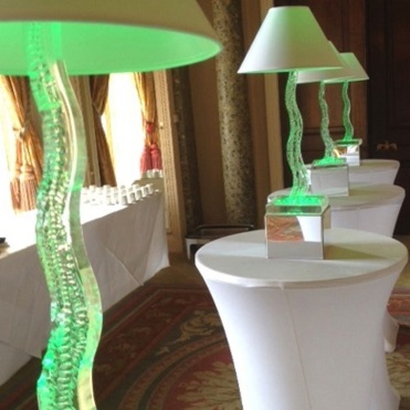 Cobra lamp table centres for hire