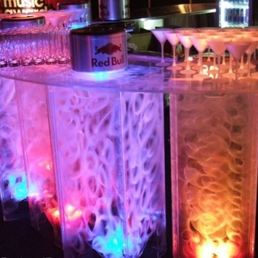 Multi coloured bar hire with swirl patterns for an extra luxury design